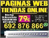 PAGINAS WEB, TIENDAS ONLINE, 79€, POSICIONAMIENTO, REDES SOCIALES, DISEÑO GRÁFICO