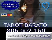 Tarot Barato. Consulta Visa 15 min 5€. 806 barato 0,42 cm min.