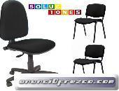 Pack de oficina silla giratoria y dos sillas fijas de tejido