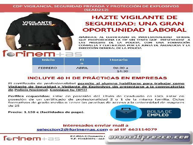 CERTIFICADO DE PROFESIONALIDAD VIGILANTE DE SEGURIDAD Y EXPLOSIVOS.